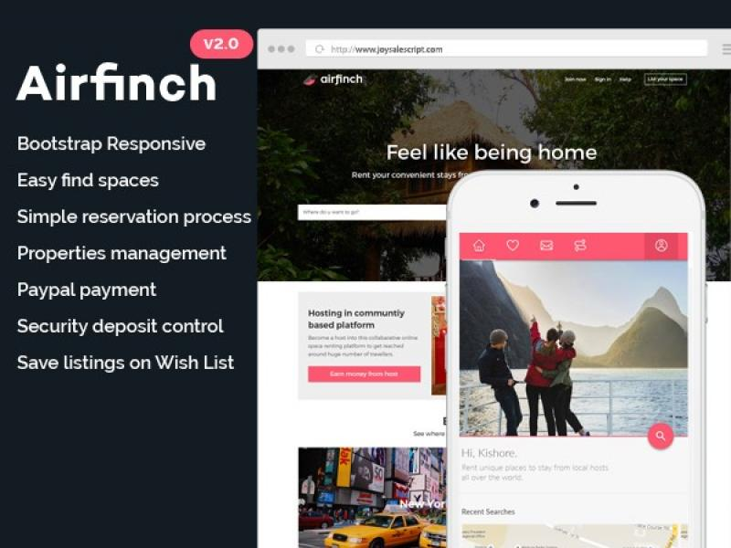 AirFinch v2.0 - AirBNB clone with iOS and Android Native Apps